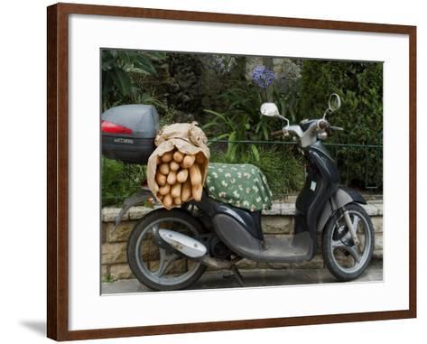 Baguettes on Back on Scooter, Monaco-Ethel Davies-Framed Art Print