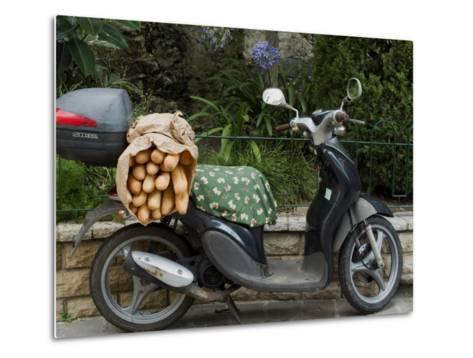 Baguettes on Back on Scooter, Monaco-Ethel Davies-Metal Print
