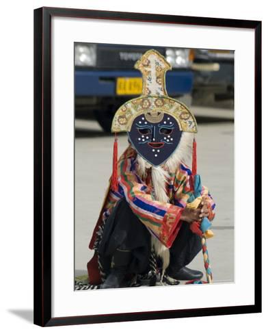 Dancer in Traditional Garb, Gyantse, Tibet, China-Ethel Davies-Framed Art Print