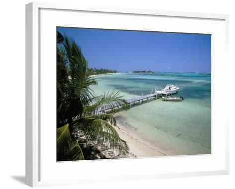 Beach and Jetty, Near Georgetown, Exuma, Bahamas, West Indies, Central America-Ethel Davies-Framed Art Print