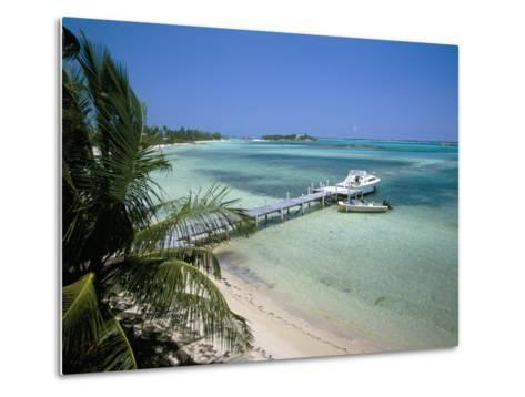 Beach and Jetty, Near Georgetown, Exuma, Bahamas, West Indies, Central America-Ethel Davies-Metal Print