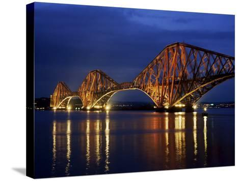 Forth Railway Bridge at Night, Queensferry, Edinburgh, Lothian, Scotland, United Kingdom-Neale Clarke-Stretched Canvas Print
