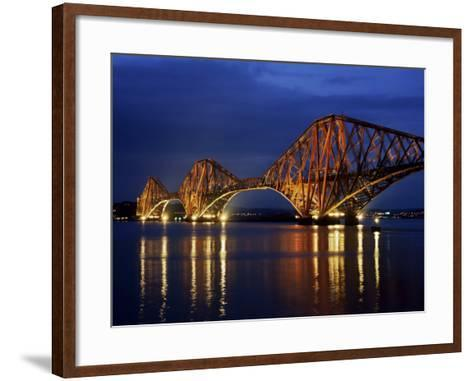 Forth Railway Bridge at Night, Queensferry, Edinburgh, Lothian, Scotland, United Kingdom-Neale Clarke-Framed Art Print