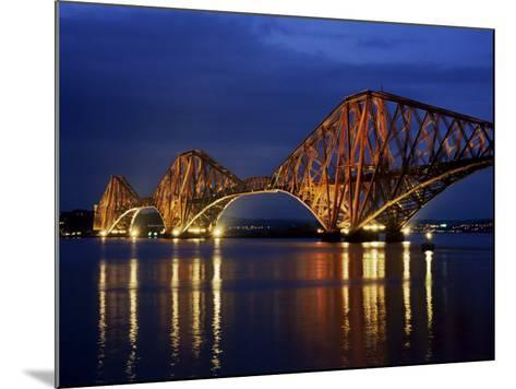Forth Railway Bridge at Night, Queensferry, Edinburgh, Lothian, Scotland, United Kingdom-Neale Clarke-Mounted Photographic Print