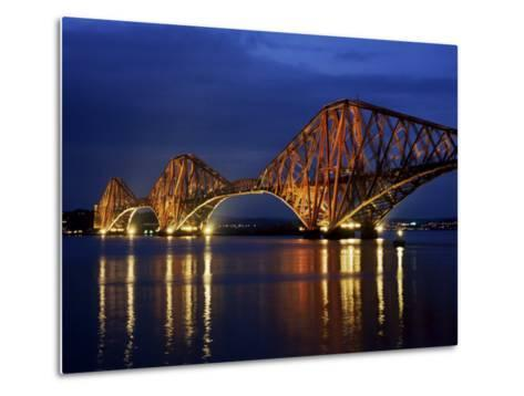 Forth Railway Bridge at Night, Queensferry, Edinburgh, Lothian, Scotland, United Kingdom-Neale Clarke-Metal Print