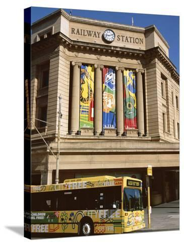 Bus Passing the Railway Station, Adelaide, South Australia, Australia-Neale Clarke-Stretched Canvas Print