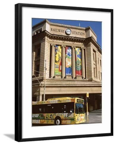 Bus Passing the Railway Station, Adelaide, South Australia, Australia-Neale Clarke-Framed Art Print