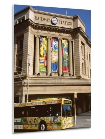 Bus Passing the Railway Station, Adelaide, South Australia, Australia-Neale Clarke-Metal Print