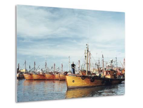 Fishing Fleet in Port, Mar Del Plata, Argentina, South America-Mark Chivers-Metal Print