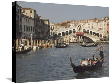 Gondolas on the Grand Canal at the Rialto Bridge, Venice, Unesco World Heritage Site, Veneto, Italy-James Emmerson-Stretched Canvas Print
