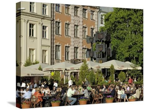 Street Cafe, Doma Square, Riga, Latvia, Baltic States-Gary Cook-Stretched Canvas Print