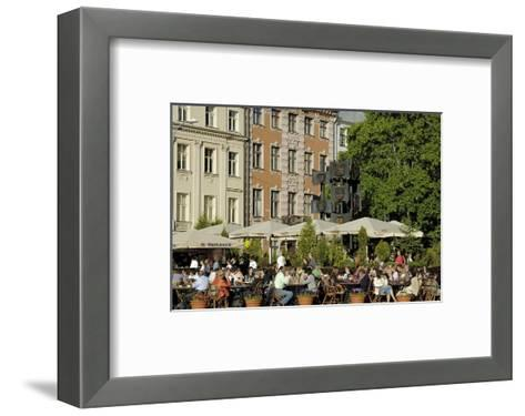 Street Cafe, Doma Square, Riga, Latvia, Baltic States-Gary Cook-Framed Art Print