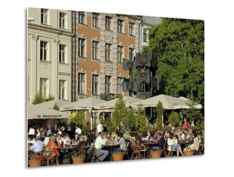 Street Cafe, Doma Square, Riga, Latvia, Baltic States-Gary Cook-Metal Print