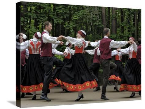 Traditional Latvian Folk Dancing, Near Riga, Baltic States-Gary Cook-Stretched Canvas Print