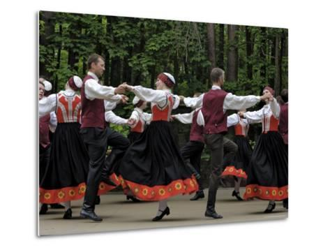 Traditional Latvian Folk Dancing, Near Riga, Baltic States-Gary Cook-Metal Print