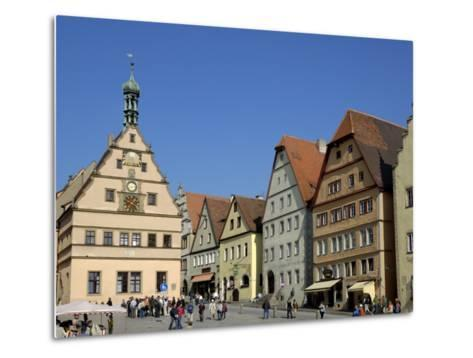 Ratstrinkstube and Town Houses, Marktplatz, Rothenburg Ob Der Tauber, Germany-Gary Cook-Metal Print