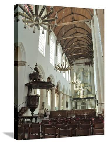 Interior, Oude Kirk (Old Church), Delft, Holland (The Netherlands)-Gary Cook-Stretched Canvas Print