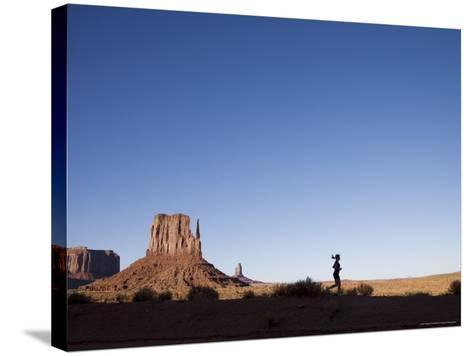 Woman Jogging, Monument Valley Navajo Tribal Park, Utah Arizona Border, USA-Angelo Cavalli-Stretched Canvas Print