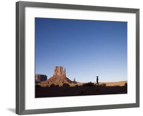 Woman Jogging, Monument Valley Navajo Tribal Park, Utah Arizona Border, USA-Angelo Cavalli-Framed Art Print