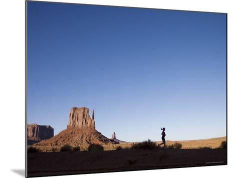 Woman Jogging, Monument Valley Navajo Tribal Park, Utah Arizona Border, USA-Angelo Cavalli-Mounted Photographic Print