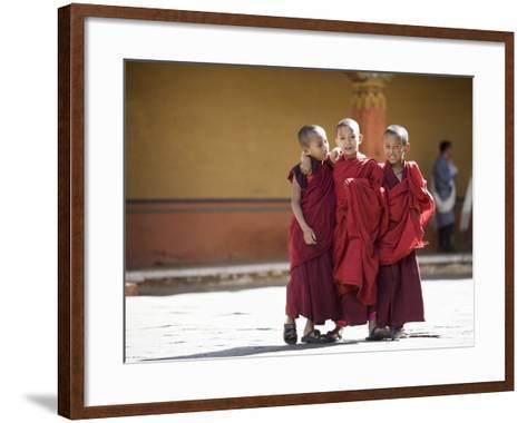 Buddhist Monks, Paro Dzong, Paro, Bhutan-Angelo Cavalli-Framed Art Print