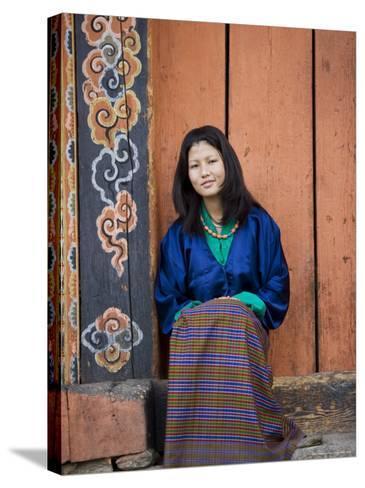 Bhutanese Woman, Jankar, Bumthang, Bhutan-Angelo Cavalli-Stretched Canvas Print