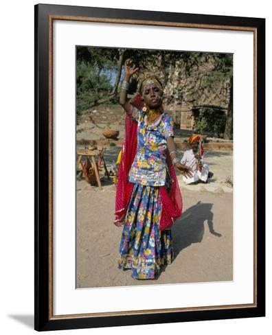 Portrait of a Child Dancer in the Fort, Jodhpur, Rajasthan State, India-Robert Harding-Framed Art Print