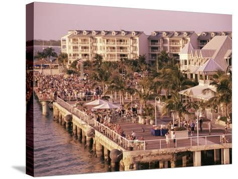 Crowds Viewing Sunset, Key West, Florida, USA-Ken Gillham-Stretched Canvas Print