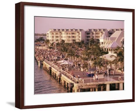Crowds Viewing Sunset, Key West, Florida, USA-Ken Gillham-Framed Art Print