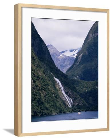 Mount Pembroke, Harrison Cove, Bowen Falls, Milford Sound, Otago, South Island, New Zealand-Ken Gillham-Framed Art Print