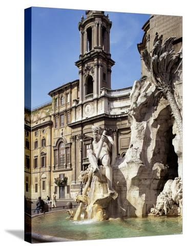 Piazza Navona, Rome, Lazio, Italy-Peter Scholey-Stretched Canvas Print