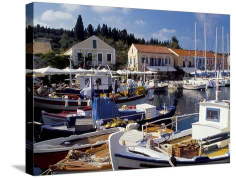 Boats in Fiscardo Harbour, Cephalonia (Kefallinia), Ionian Islands, Greece-Jonathan Hodson-Stretched Canvas Print