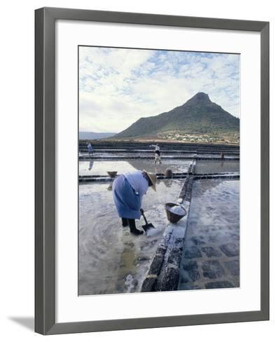 Salt Workers, Mauritius, Indian Ocean, Africa-Alain Evrard-Framed Art Print