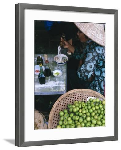 Woman Eating Pho at Food Stall, Cholon Market, Ho Chi Minh City, Indochina-Tim Hall-Framed Art Print