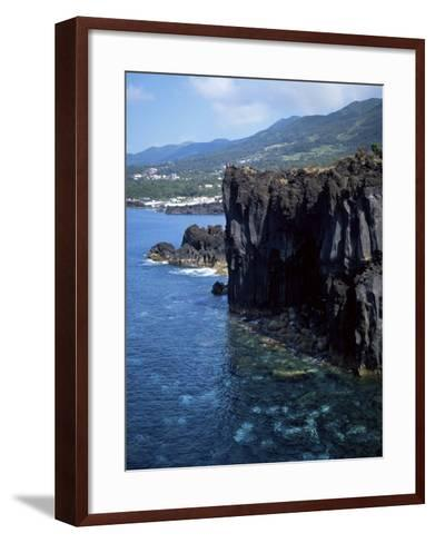 Volcanic Coastline, Island of Sao Jorge, Azores, Portugal, Atlantic-David Lomax-Framed Art Print