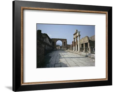 Corner of Forum and Arch of Tiberius, Pompeii, UNESCO World Heritage Site, Campania, Italy-Walter Rawlings-Framed Art Print