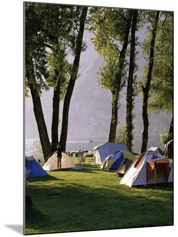Camping on Wallensee, Churfirsten Range Near Wallenstadt, Switzerland-Walter Rawlings-Mounted Photographic Print