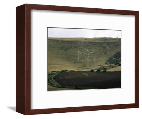 The Long Man, Wilmington, East Sussex, England, United Kingdom-Walter Rawlings-Framed Art Print
