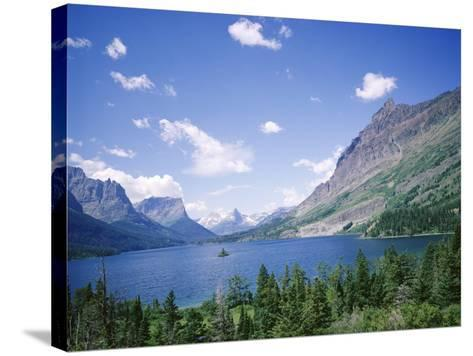 St. Mary Lake and Wild Goose Island, Glacier National Park, Rocky Mountains, USA-Geoff Renner-Stretched Canvas Print