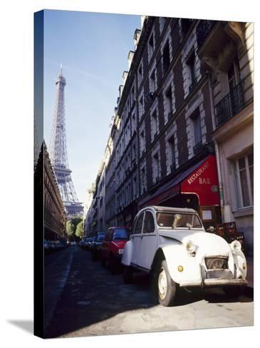 Parked Citroen on Rue De Monttessuy, with the Eiffel Tower Behind, Paris, France-Geoff Renner-Stretched Canvas Print