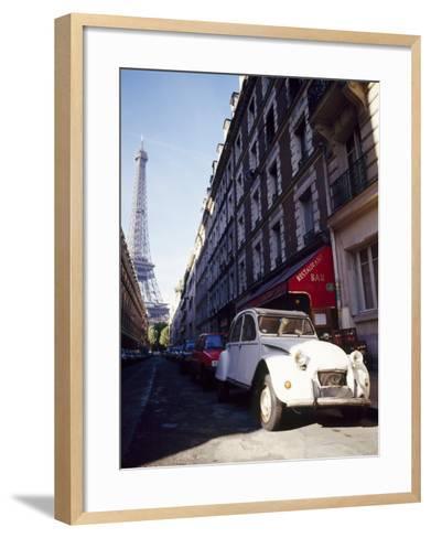 Parked Citroen on Rue De Monttessuy, with the Eiffel Tower Behind, Paris, France-Geoff Renner-Framed Art Print