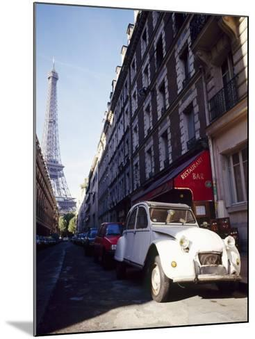 Parked Citroen on Rue De Monttessuy, with the Eiffel Tower Behind, Paris, France-Geoff Renner-Mounted Photographic Print