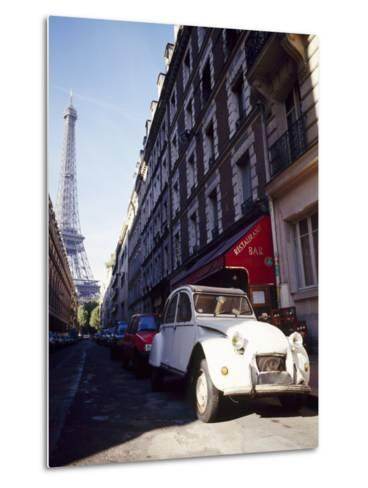 Parked Citroen on Rue De Monttessuy, with the Eiffel Tower Behind, Paris, France-Geoff Renner-Metal Print