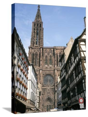 Gothic Christian Cathedral Dating from the 12th to 15th Centuries, Strasbourg, Alsace, France-Geoff Renner-Stretched Canvas Print