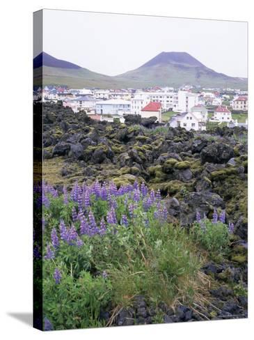 Lava from 1973 Eruption in Foreground, Island of Heimaey, Westmann Islands, Iceland, Polar Regions-Geoff Renner-Stretched Canvas Print