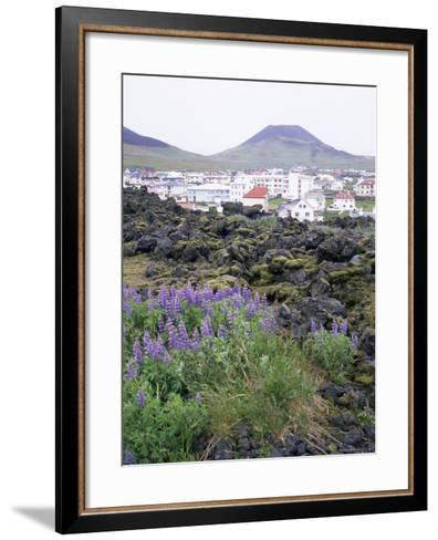 Lava from 1973 Eruption in Foreground, Island of Heimaey, Westmann Islands, Iceland, Polar Regions-Geoff Renner-Framed Art Print