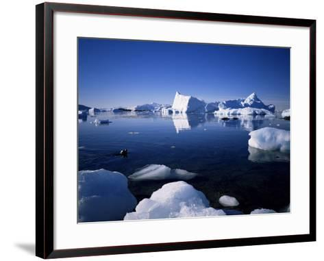 Ice Scenery and Seal, Antarctica, Polar Regions-Geoff Renner-Framed Art Print