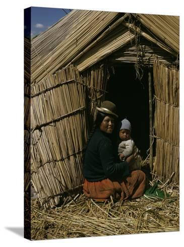 Uro Indian Woman and Baby, Lake Titicaca, Peru, South America-Sybil Sassoon-Stretched Canvas Print