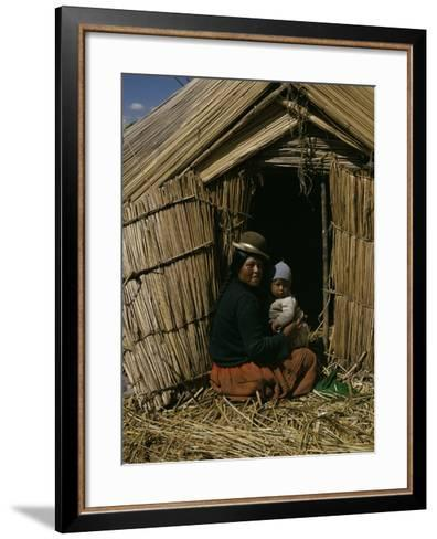Uro Indian Woman and Baby, Lake Titicaca, Peru, South America-Sybil Sassoon-Framed Art Print