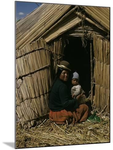 Uro Indian Woman and Baby, Lake Titicaca, Peru, South America-Sybil Sassoon-Mounted Photographic Print